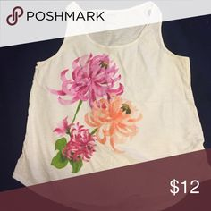 Old Navy Floral Tank White tank top with pink flower graphic on the front. EUC. Old Navy Tops Tank Tops