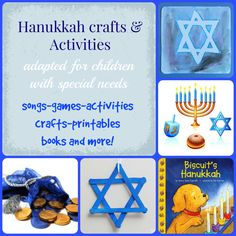 This is a great list of activities, songs and crafts for Hanukkah. Most of them are very beginner level for kids with special needs. Also includes what skills you can work on when doing these activities. All kids will love them!