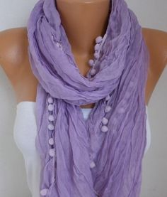 Lilac  Scarf Spring Lavender Summer Scarf Mother's Day by fatwoman