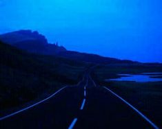 Blue on the road