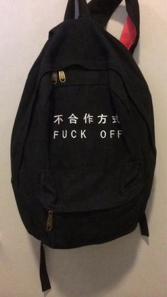 bag grunge black backpack tumblr fuck off cool grunge bag grunge backpack
