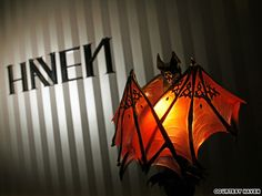 This bat lamp shade is beautiful! Perfect for a vampire party.