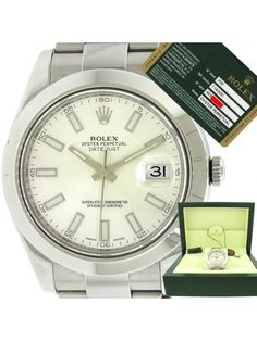 2014 Rolex DateJust II 116300 Silver Stick Stainless Steel 41mm Watch Box Papers