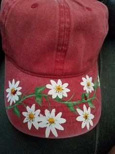 7b3b9bf51f8 Hand Painted New Distressed Ladies Baseball Cap Hat Daisy s and LadyBugs Baseball  Caps For