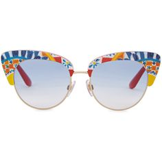 Dolce & Gabbana Printed Cat-eye Sunglasses ($280) ❤ liked on Polyvore featuring accessories, eyewear, sunglasses, uv protection sunglasses, acetate glasses, colorful glasses, lens glasses and dolce gabbana eyewear