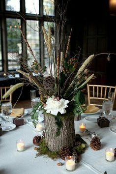 Top Centerpieces Ideas For Your Perfect Wedding, Always remember it isn't only about the centerpiece. Wedding centerpieces always have to be elegant. In regards to your wedding centerpieces, … Fall Wedding Centerpieces, Table Centerpieces, Pinecone Wedding Decorations, Quinceanera Centerpieces, Centrepieces, Pinecone Centerpiece, Fish Centerpiece, Wedding Bouquets, Woodsy Wedding