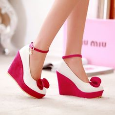 7ba5e82a9fb Rose Carmine Round Toe Bow Pearl Sweet Wedge High-Heeled Shoes Ankle Strap  Sandals