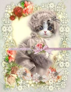 Digital Collage sheet, vintage cat - INSTANT DOWNLOAD, Dreams Sheet 65 - backgrounds - tags - cards - kitties