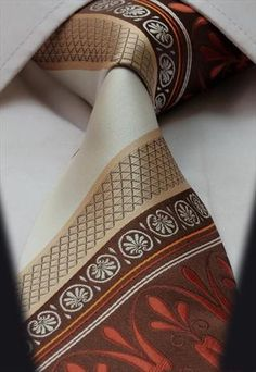 Cream White Brown Orange Gold Floral Paisley Silk Mens Tie