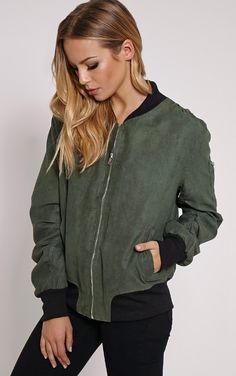 Poppie Khaki Suede Bomber Jacket - Coats & Jackets - PrettylittleThing US   PrettyLittleThing.com