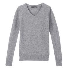 VANCL V-Neck Wool Sweater (WOMEN) Heather Grey SKU:33227