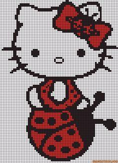 Hello Kitty ladybug perler bead pattern