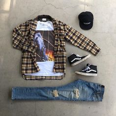 Streetwear Tee with Flannel , Vans High & Distressed Denim Swag Outfits Men, Dope Outfits, Fashion Outfits, Hype Clothing, Mens Clothing Styles, Jeans E Vans, Denim Jeans, Urban Fashion, Mens Fashion