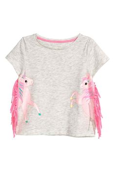 Jersey top with fringes - Light grey/Unicorn - Kids | H&M GB