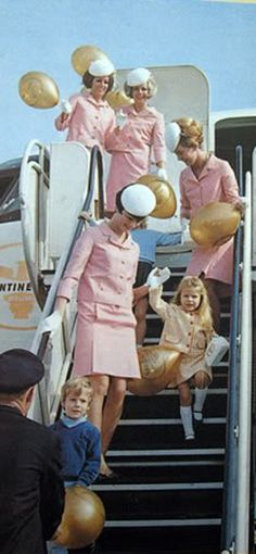 Pink Continental airlines uniforms