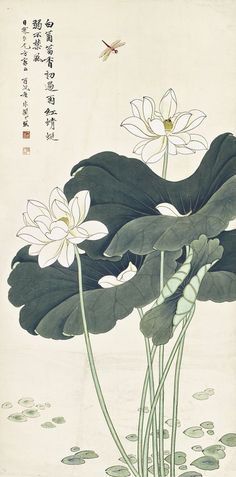 White lotus and dragonfly by Yu Feian Watercolor Lotus, Lotus Painting, Painting Flowers, Lotus Flower Art, Lotus Art, Japanese Lotus, Japanese Art, Japanese Painting, Chinese Painting