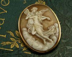 Antique Estate Shell Cameo Pin Brooch Pendant 14k Gold Goddess Angels Greek