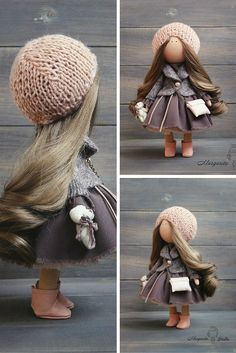 Art doll handmade peach brown color Collectable doll House doll Home doll Decor…