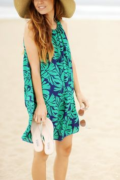 Merrick's Art // Style + Sewing for the Everyday Girl: DIY FRIDAY: PLEATED PALM LEAF PRINT BEACH DRESS (SEWING TUTORIAL)