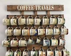 mug rack, coffee mug holder, coffee cup display, Holds Starbucks You Are Here Mugs