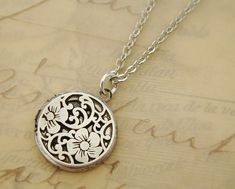 Beautiful Original Small Round Silver Locket Wedding Bride Mother Daughters Flowers Pictures Romance Sister Girl Wife - Liza on Etsy, $26.00