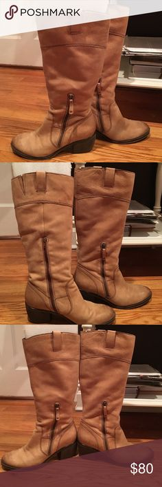 Naturalizer natural boots Worn, vintage look.  Zipper on with side of boot. Stacked heel. Loops on top for ease in putting on. Like new.  Worn once. No box. Naturalizer Shoes