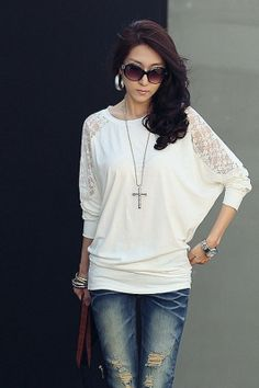 White Lace T Shirt Women T-shirt Cotton Poleras De Mujer Moda 2016 Tee Shirt Femme Casual camisetas mujer women long sleeve tops Batwing Top, Batwing Sleeve, Long Sleeve, Bat Sleeve, Dolman Top, Blouse Only, Long Blouse, Raglan Shirts, Shirt Bluse