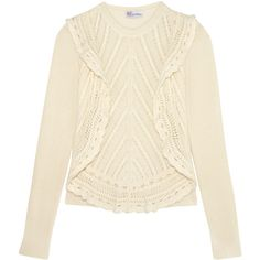 REDValentino Crochet-trimmed ruffled open-knit sweater (535 AUD) ❤ liked on