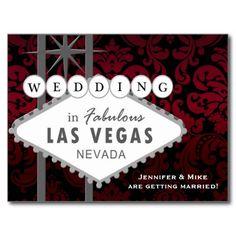 LAS VEGAS WEDDING Damask Save the Date Postcard