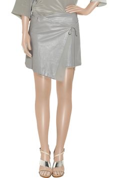 Leather wrap mini skirt by Reed Krakoff