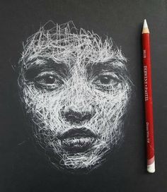 The face Dp pencil 2019 Art And Illustration, Black Paper Drawing, Scribble Art, White Pencil, Art World, Pencil Drawings, Pencil Art, Cool Art Drawings, Art Inspo