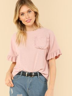 To find out about the Pocket Patched Frill Detail Tee at SHEIN, part of our latest T-Shirts ready to shop online today! Casual Outfits, Cute Outfits, Fashion Outfits, Short Sleeve Collared Shirts, Cute Homecoming Dresses, Baby Girl Tops, Fancy Tops, Frill Tops, Girls Blouse