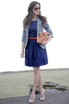 #navy and #striped blazer