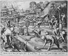 1570 Designed by Pieter Bruegel the Elder - Spring (from a Four Seasons series) Engraving