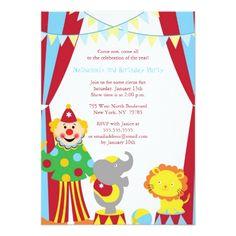 Circus Birthday Invitations Cute circus theme boy / girl birthday party invite