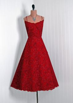 1950's Vintage Ruby-Red French Chantilly-Lace Couture Duel-Strap Scalloped Low-Cut Party Dress via TimelessVixenVintage on Etsy