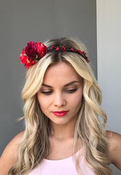 Rose flower crown bridesmaid flower crown wedding flower crown