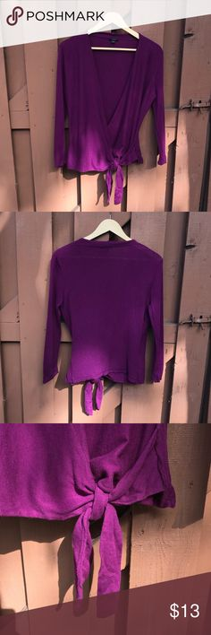 Ann Taylor - Purple Tie Cardigan Only worn once! A purple tie cardigan from Ann Taylor. There is a hole in the back of one of the armpits that may be a bit visible, and could be fixed with some tailoring. This is sized as a M.  (Smoke-free home, but we are dog & cat friendly!) Ann Taylor Sweaters Cardigans