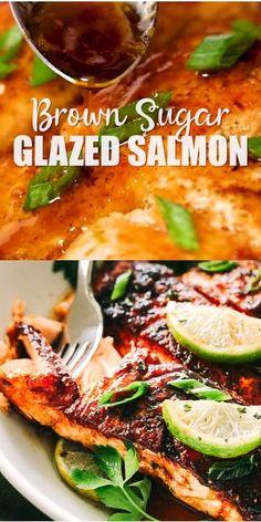Brown Sugar Glazed Salmon (The BEST Pan Seared Salmon Recipe Ever! Salmon Recipe Videos, Salmon Recipe Pan, Seared Salmon Recipes, Healthy Salmon Recipes, Seafood Recipes, Sushi Recipes, Pan Recipe, Pan Seared Salmon, Best Salmon Recipe Baked