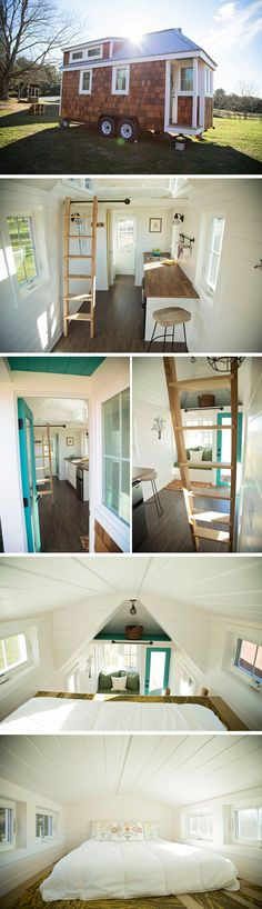 A 20' custom tiny house on wheels includes a custom love seat, walnut butcher block countertop, induction cooktop, and a queen size sleeping loft.
