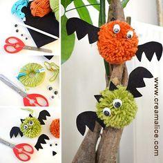 {DIY} Chauve-souris Pompon Halloween - DIY Pom Pom Halloween Bats