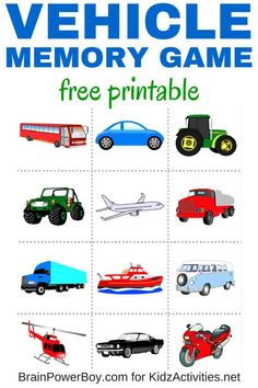 Free Printable Vehicle Memory Game - Kidz Activities