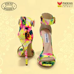 Go bright with the Steve Madden Marlenee Floral Print Ankle Strap Heels! A watercolor print tops a toe strap, wrapped stiletto heel, and heel cup with ankle strap. Platform High Heels, High Heels Stilettos, Stiletto Heels, Shoes Heels, Sandal Heels, Yellow High Heels, Yellow Shoes, Juniors Clothing Online, High Heels Plateau