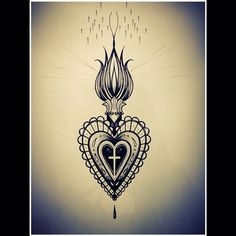 Engraving style sacred heart by Miss Sita @ One O Nine Barcelona… Baby Tattoos, Time Tattoos, New Tattoos, Sternum Tattoo, I Tattoo, Jesus Tattoo, Sagrado Corazon Tattoo, Coeur Tattoo, Sacred Heart Tattoos