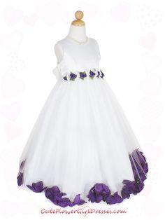 Purple Flower Girl Dresses   Purple Satin Bodice Skirt Flower Girl Dress
