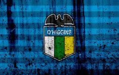 Download wallpapers 4k, FC O Higgins, art, grunge, Chilean Primera Division, soccer, football club, Chile, O Higgins, logo, stone texture, O Higgins FC