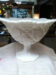 "Vintage Westmoreland Milk Glass ""Old Quilt Pattern"" Compote"