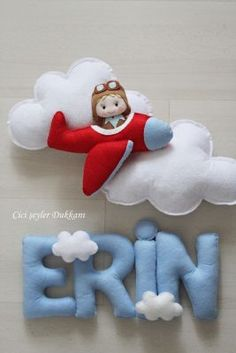 Baby room decor - not the colour for Braith's room. but I love the wording with the clouds on! Baby Crafts, Felt Crafts, Diy And Crafts, Felt Mobile, Baby Mobile, Felt Name Banner, Craft Projects, Sewing Projects, Felt Baby
