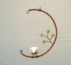Birds and Beads Hanging Mobile Small by RocklenDesigns on Etsy, $28.00
