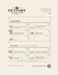 Art of the Menu: Outpost — Designspiration